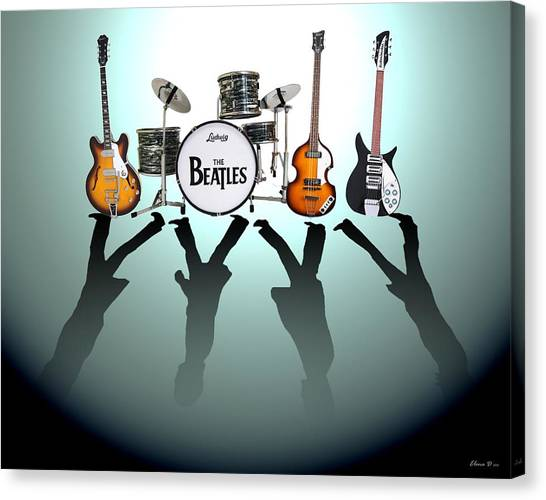 Percussion Instruments Canvas Print - The Beatles by Lena Day