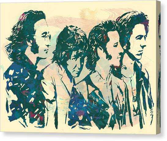 Frank Zappa Canvas Print - The Beatles - Stylised Pop Art Drawing Potrait Poser by Kim Wang