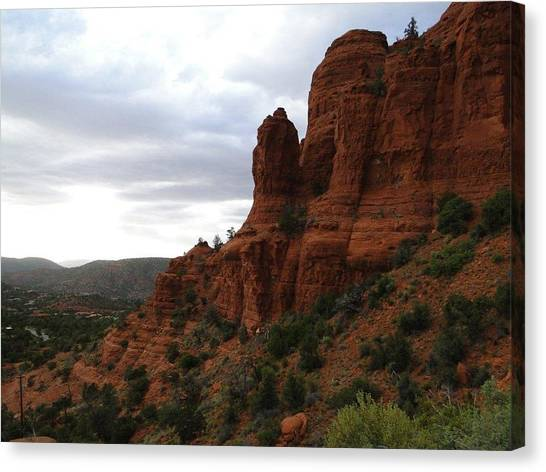 The Beautiful Hillside Of Sedona On A Cloudy Afternoon Canvas Print