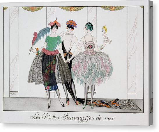 Parakeets Canvas Print - The Beautiful Savages by Georges Barbier