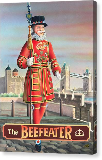 Tower Of London Canvas Print - The Beefeater by Peter Green
