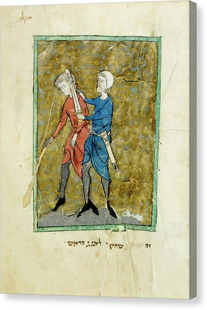 Judaism Canvas Print - The Beheading Of Agag by British Library