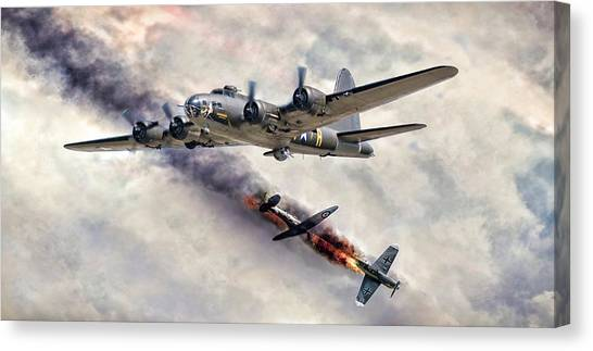 United States Army Air Corps Canvas Print - The Belle In Action by Peter Chilelli