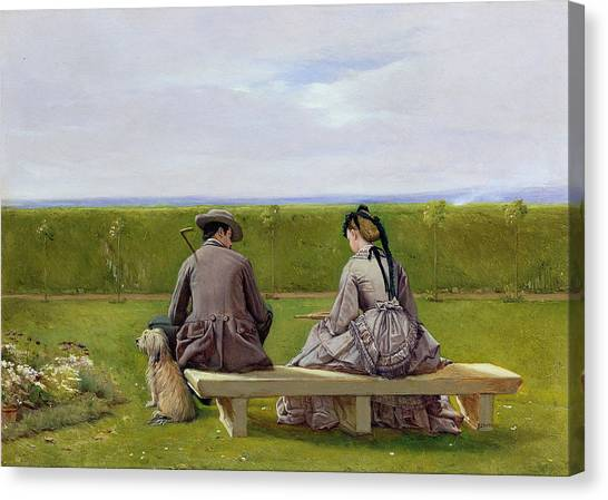Victorian Garden Canvas Print - The Bench By The Sea by Eyre Crowe