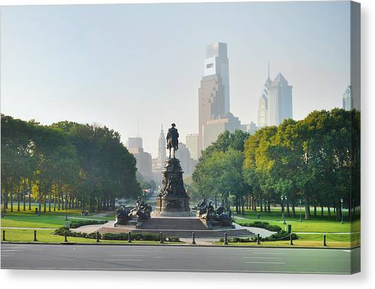 Canvas Print featuring the photograph The Benjamin Franklin Parkway - Philadelphia Pennsylvania by Bill Cannon