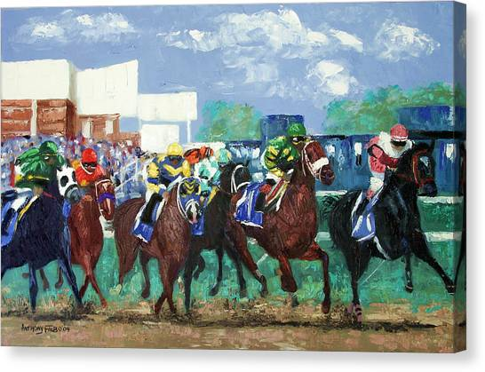 Canvas Print featuring the painting The Bets Are On Again by Anthony Falbo