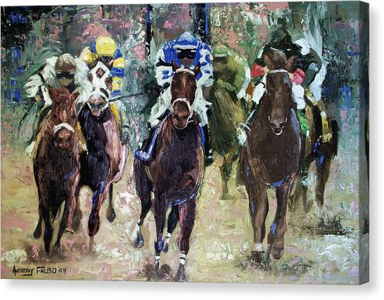 Kentucky Derby Canvas Print - The Bets Are On by Anthony Falbo