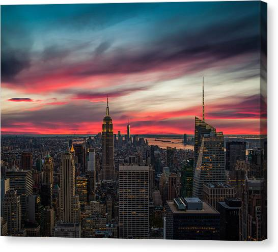New York Skyline Canvas Print - The Big Red Apple by Peter Irwindale