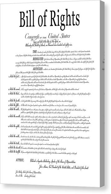 Libertarian Canvas Print - The Bill Of Rights Classic White by Daniel Hagerman