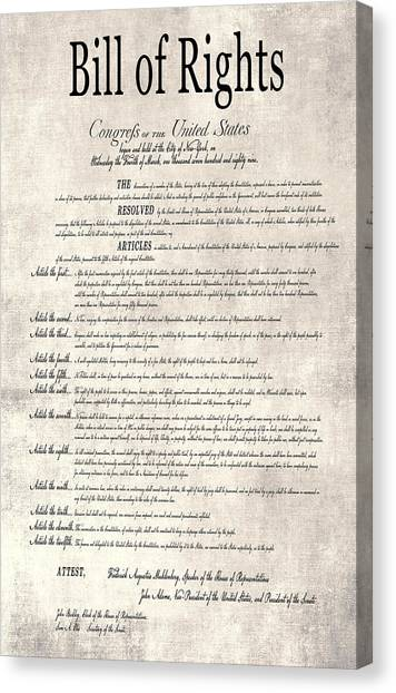 Libertarian Canvas Print - The Bill Of Rights Parchment by Daniel Hagerman