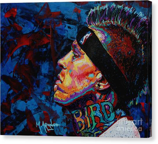 New Orleans Hornets Canvas Print - The Birdman Chris Andersen by Maria Arango