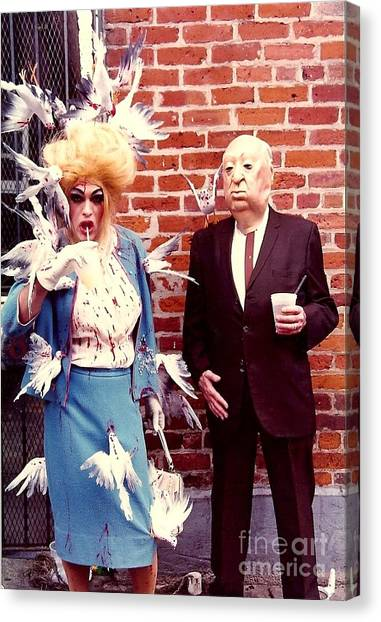 New Orleans The Birds And Alfred Hitchcock Mardi Gras Day In The French Quarter In Louisiana Canvas Print