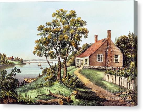 Currier And Ives Canvas Print - The Birthplace Of Washington At Bridges Creek by Currier and Ives