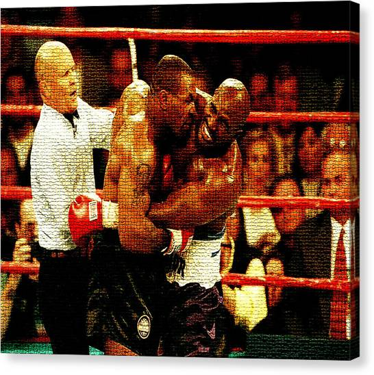 Mike Tyson Canvas Print - Bite Fight   by Brian Reaves