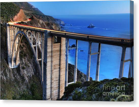 Under The Moon Canvas Print - The Bixby Bridge  by Marco Crupi