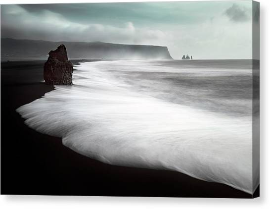 Black Sand Canvas Print - The Black Beach by Liloni Luca