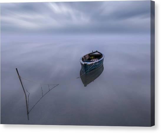 Deltas Canvas Print - The Blue Boat by Joaquin Guerola