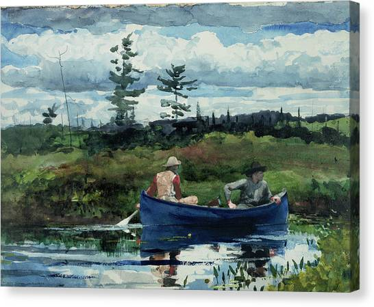 Canvas Print featuring the painting The Blue Boat by Winslow Homer