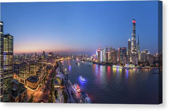 Bund Canvas Print - The Blue Hour In Shanghai by Barry Chen