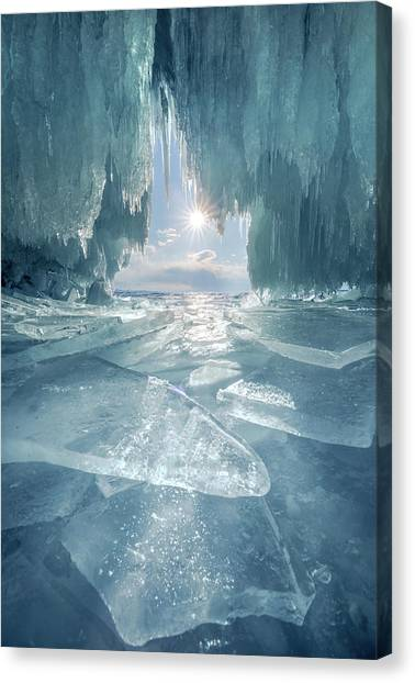 The Blue Ice Cave At Lake Baikal Canvas Print by Coolbiere Photograph