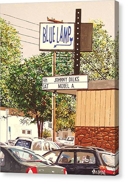 The Blue Lamp In Midtown Canvas Print by Paul Guyer