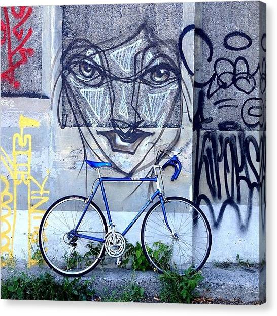 Bicycle Canvas Print - The Blue Meenie Lookin At You by Kreddible Trout