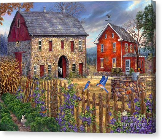 Basket Canvas Print - The Bluebirds' Song by Chuck Pinson