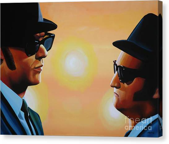 Rhythm And Blues Canvas Print - The Blues Brothers by Paul Meijering