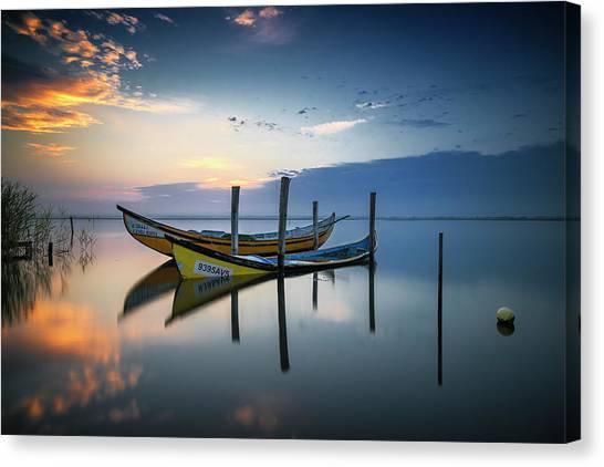 Sunset Horizon Canvas Print - The Boats by Rui Ribeiro