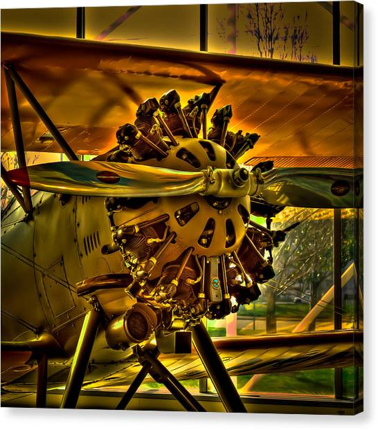 Prop Planes Canvas Print - The Boeing Model 100 Biplane by David Patterson