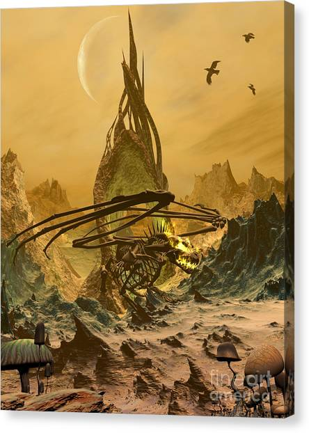 Fantasy Cave Canvas Print - The Bone Dragon's Lair by Fairy Fantasies