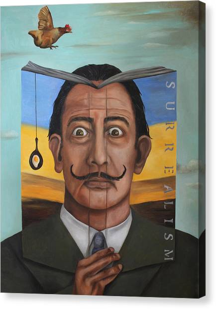 Salvador Dali Canvas Print - The Book Of Surrealism by Leah Saulnier The Painting Maniac