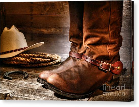 Cowboy Boots Canvas Print - The Boots by Olivier Le Queinec