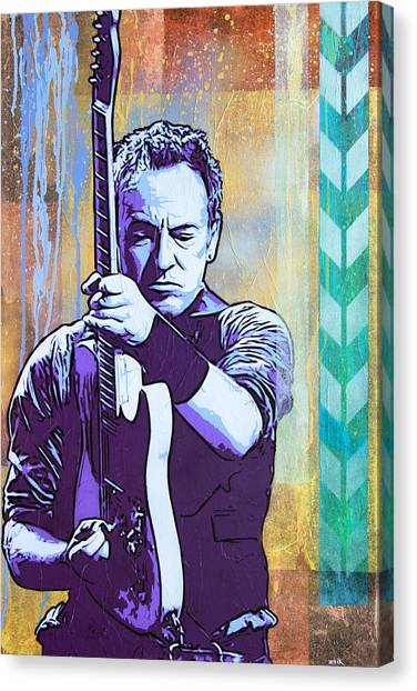Bruce Springsteen Canvas Print - The Boss by Bobby Zeik