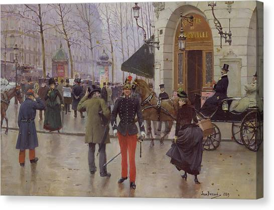 Carts Canvas Print - The Boulevard Des Capucines And The Vaudeville Theatre by Jean Beraud