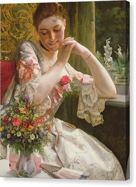 Rococo Art Canvas Print - The Bouquet by Albert Raudnitz