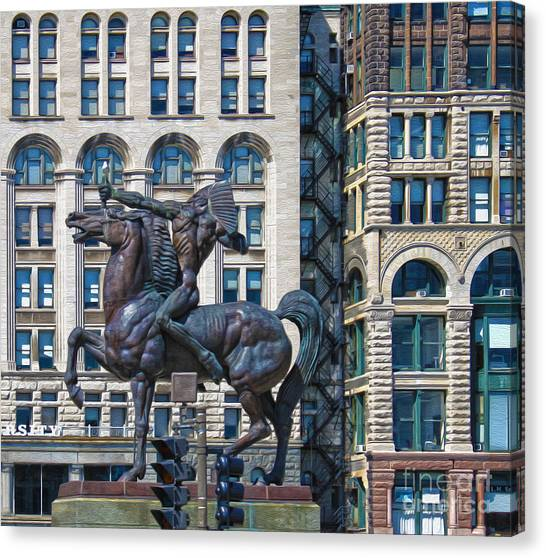 The Bowman - Chicago Indian Statue - 02 Canvas Print by Gregory Dyer