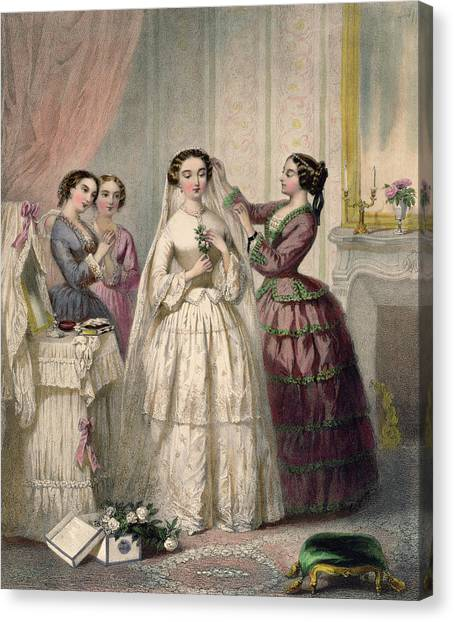 Wedding Bouquet Canvas Print - The Bride, Engraved By J. Battannier, 1852-53 Colour Litho by Henri Lafon