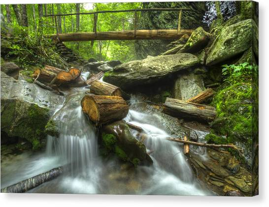 Foggy Forests Canvas Print - The Bridge At Alum Cave by Debra and Dave Vanderlaan