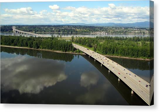 Canvas Print featuring the photograph Oregon Bridge From Above by Bob Slitzan