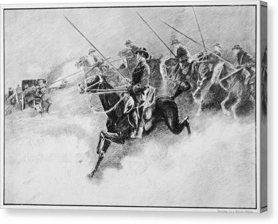 The British Cavalry In Action As Late Canvas Print by Mary Evans Picture Library