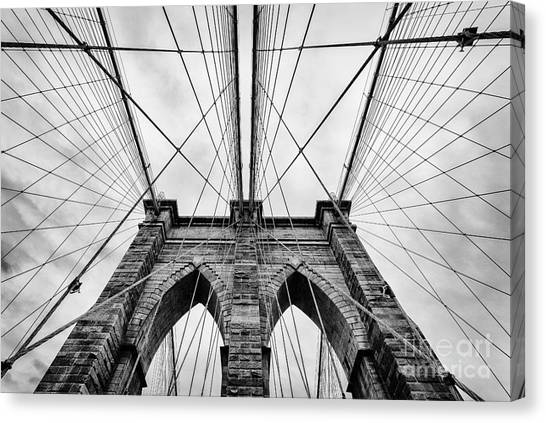 Black And White Art Canvas Print - The Brooklyn Bridge by John Farnan
