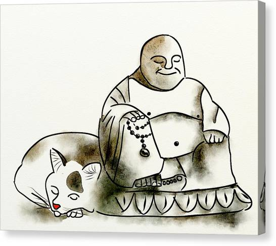 The Buddha And The Cat Canvas Print