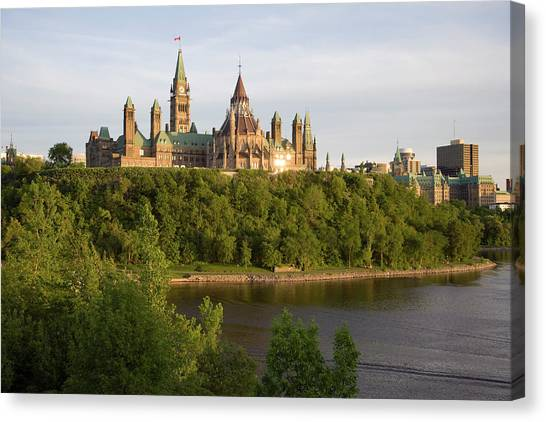 Parliament Hill Canvas Print - The Buildings Of Parliament Hill, Along by Sean Caffrey