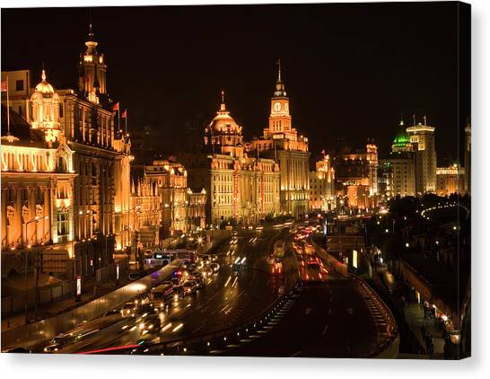 Bund Canvas Print - The Bund, Old Part Of Shanghai by William Perry