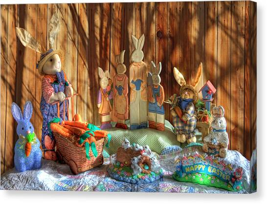 Easter Bunny Canvas Print - The Bunny Ranch by Donna Kennedy