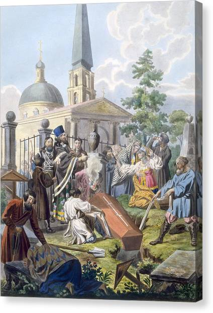 Orthodox Art Canvas Print - The Burial, 1812-13 by E. Karnejeff