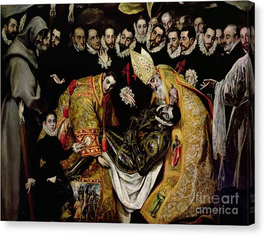 Buried Canvas Print - The Burial Of Count Orgaz From A Legend Of 1323 Detail Of A Young Page by El Greco Domenico Theotocopuli