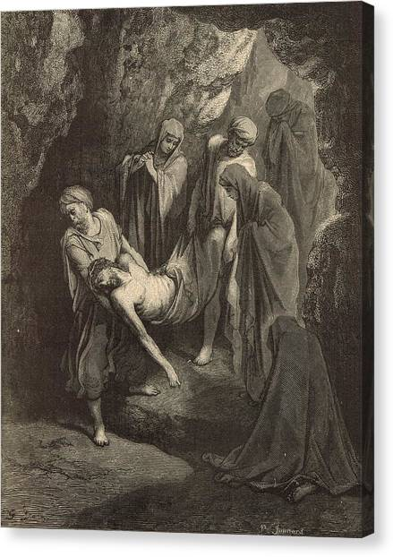 The Burial Of Jesus Canvas Print by Antique Engravings