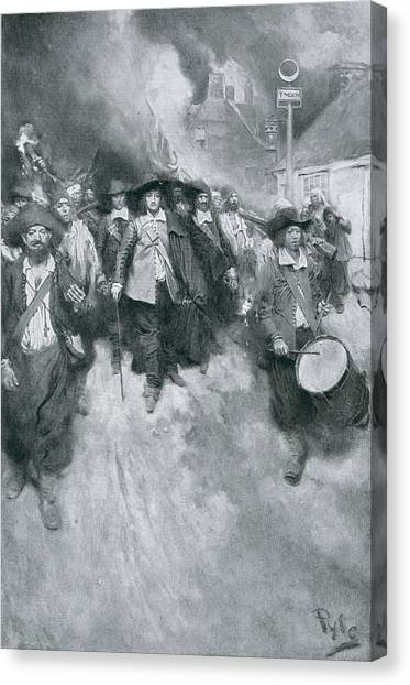 Bacon Canvas Print - The Burning Of Jamestown, 1676, Illustration From Colonies And Nation By Woodrow Wilson, Pub by Howard Pyle